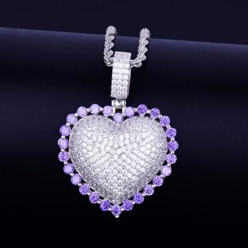 Ladies Rainbow Lab Diamond Micro Pave Heart Pendant Chain Necklace