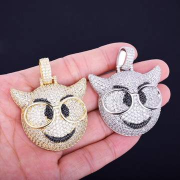 Iced Out Lab Diamond Glasses Demon Emoji Bling Pendant Chain Necklace