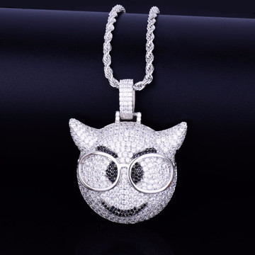 18k Gold .925 Silver AAA True Micro Pave Glasses Demon Emoji Bling Pendant Chain Necklace