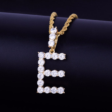 AAA Lab Diamond All Ice Stone Letters Hip Hop Pendant Chain Necklace