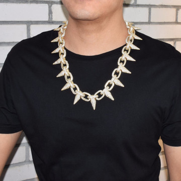 Mens Iced Out Heavy Hip Hop Punk Rivet Choker Style Bling AAA Lab Diamond Hip Hop Chain Necklace
