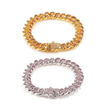 12mm Wide Miami Curb Cuban Link 14k Gold Bling Bling Silver Bracelet