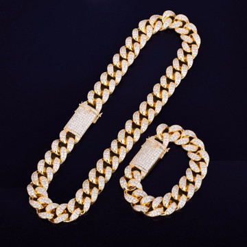 Mens 20mm Bling Heavy AAA Lab Diamond Custom Miami Cuban Link Chain Necklace