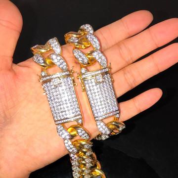 Mens 20mm Bling Heavy AAA Lab Diamond Custom Miami Cuban Link Chain Necklace
