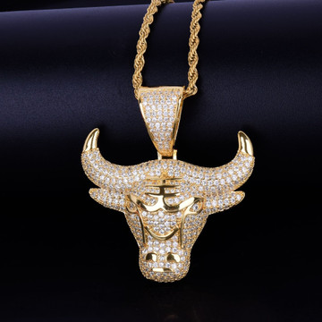 18k Gold .925 Silver Micro Paved AAA Stone Bull Head Tau Pendant Chain Necklace