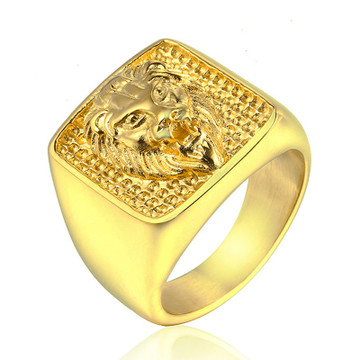 Mens 14k Gold Silver 316L Stainless Steel Lion Head Ring