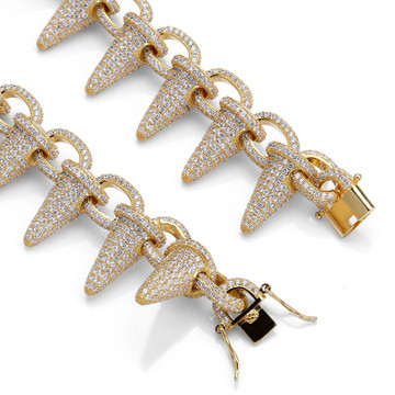 Mens AAA Lab Diamond Micro Pave Stone 24k Gold Silver Rivet Spike Bracelet