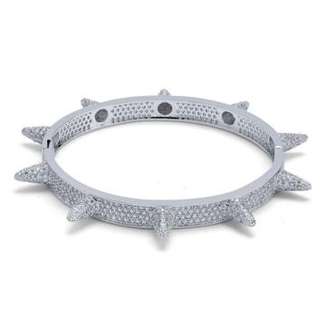 Micro Paved AAA Lab Diamond Stone Rivet Spike Open Cuff Bangle Bracelet