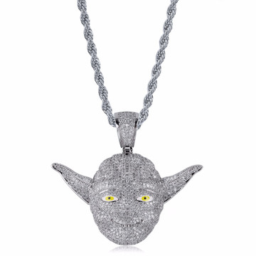 Master Yoda Hip Hop Ice AAA True Micro Pave Stone Silver Pendant Chain Necklace