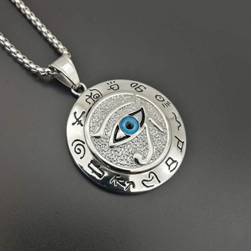 Stainless Steel Round Eye of Horus Hip Hop Pendant Chain Necklace