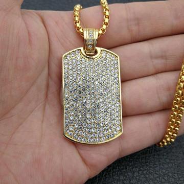 Silver 14k Gold Stainless Steel Classic Lab Diamond Dog Tag Hip Hop Pendant Chain Necklace