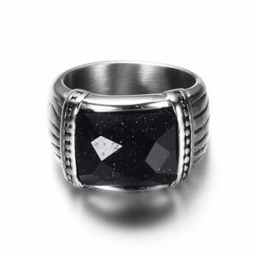 Black Red Natural Stone Classic Signet Square Titanium Steel Rings