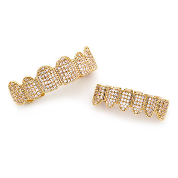 Men's Hip Hop Top Bottom Teeth Set 14 Gold Silver Micro Pave Stone Bling Ice Grillz