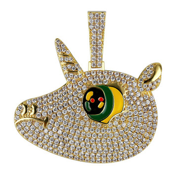 Hip Hop Full AAA Lab Diamond Micro Paved Bling Iced Out Cartoon Unicorn Pendant Chain Necklace