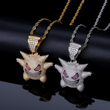 Bling AAA Lab Diamond Micro Paved Iced Out Pokemon Mask Gengar Pendant Chain Necklace