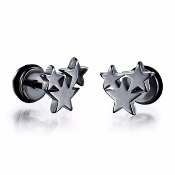 Super Star 14k Gold Silver 316L Stainless Steel Stud Earrings