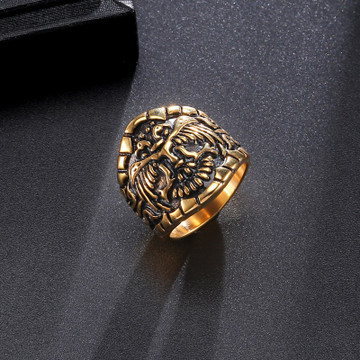 Gold Silver 316L Stainless Steel Flying Fire Phoenix Double Headed Ring