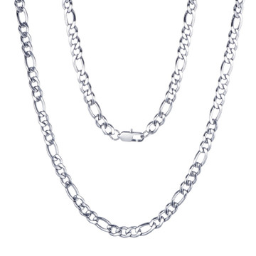 Gold Silver 4mm 6mm 316L Stainless Steel Figaro Link Hip Hop Chain Link Necklace