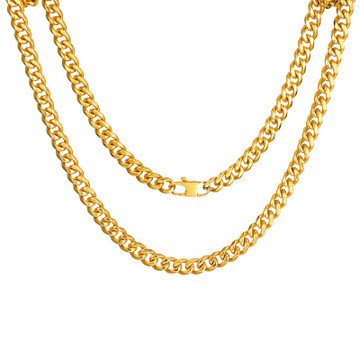 Mens 6MM 14k Gold Silver Black 316L Stainless Steel Miami Cuban Link Chain Necklace