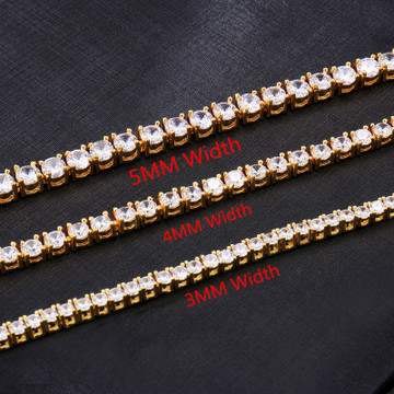 Iced Out 3mm 4mm 5mm 1 Row 14k Gold Silver Lab Diamond Tennis Bracelet