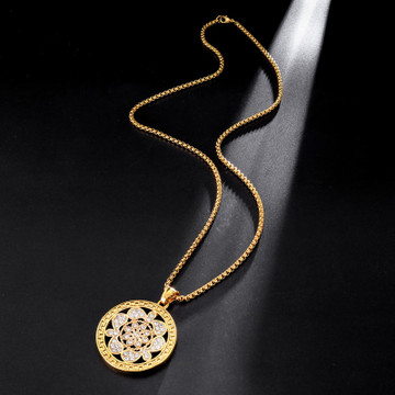 Silver 14k Gold Stainless Steel Iced Crystal Round Medallion Pendant Chain Necklace