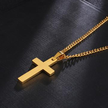 Classic 14k Gold Silver Black Titanium Stainless Steel Cross Pendant