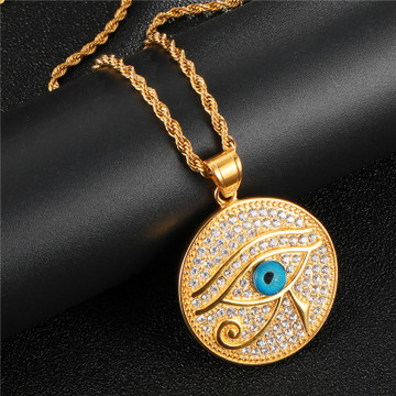 14k Gold Stainless Steel Ancient African Eye Of Ra Egyptian Iced Out Round Pendant Chain Necklace
