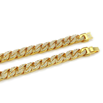 Hip Hop Miami Curb Cuban Link Micro Pave 14k Gold Silver Bling Chain Necklace