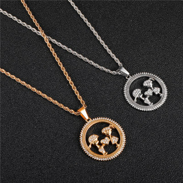 Lab Diamond Lovers Gift Stainless Steel Pendant Chain Necklace
