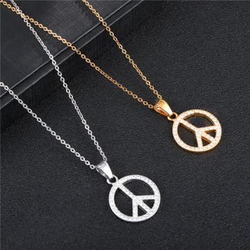 14k Gold Silver Stainless Steel Bling Peace Sign Chain Necklace