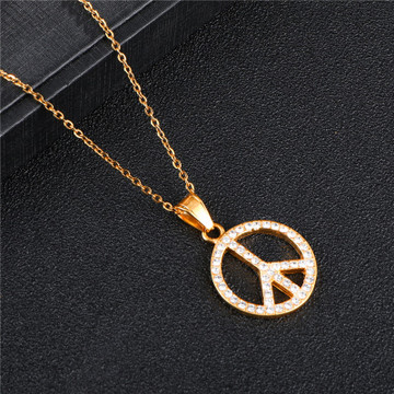 Micro Pave Lab Diamond 14k Gold Silver Stainless Steel Bling Peace Sign Chain Necklace