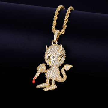 18k Gold .925 Silver Hip Hop Little Demon Devil AAA True Micro Pave Flooded Ice Pendant