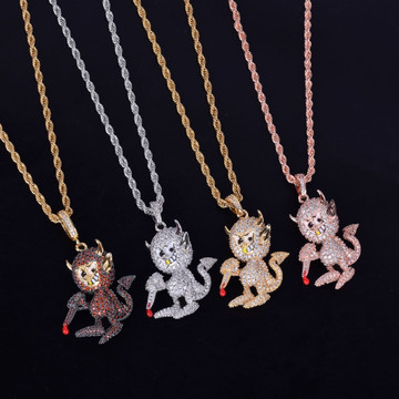 Hip Hop Little Demon Devil Micro Pave Flooded Ice Pendant