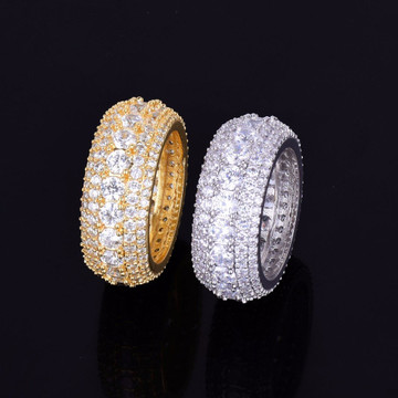 5 Row Micro Pave AAA Mens 18K Gold Silver Flooded Ice Rings