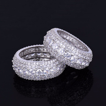 .925 Silver Flooded Ice Hip Hop Rings