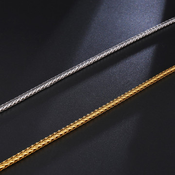 4MM Stainless Steel 14k Gold Silver Foxtail Franco Twisted Link Chain Necklace