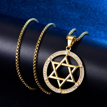 Hollow Star of David 14k Gold Stainless Steel Pendant