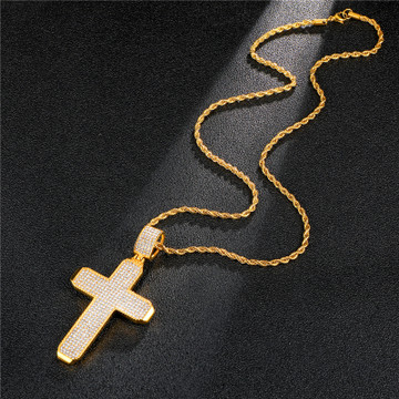 Hip Hop Full Micro Pave 14k Gold Stainless Steel Square Block Cross Pendant