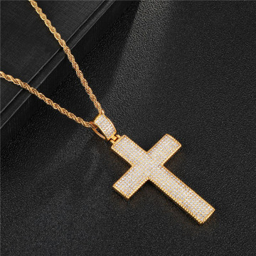 Mens 14k Gold Classic Square 14k Gold Stainless Steel Micro Pave Lab Diamond Cross
