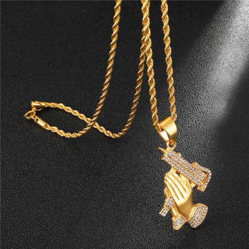Iced Out Good vs Evil Lords Prayer Hands Uzi Machine Pendant