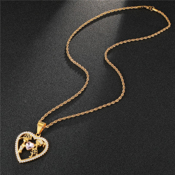 Heart Shape 14k Stainless Steel Girl and Guy Lovers Pendant Chain Necklace