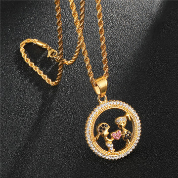 Round Heart Shape Iced Out Lab Diamond Stainless Steel 14k Gold Chain