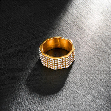 Hip Hop 14k Gold Stainless Steel Micro Pave Lad Diamond Square Bolt Ring