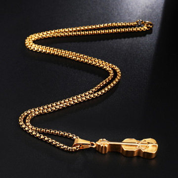 14k Gold Stainless Steel Violin Musical Instrument Pendant Chain Necklace