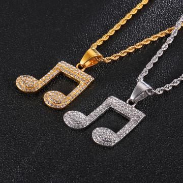 Music Note Lab Diamond Stainless Steel Pendant
