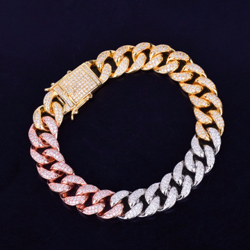 Rose Silver 24k 12MM Flooded Ice Mixed Color Miami Cuban Link Chain Bracelet