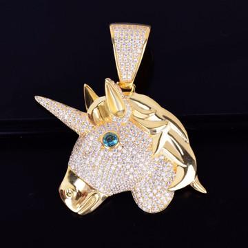 Unicorn Horse Head 14k Gold Silver Hip Hop Bling Pendant