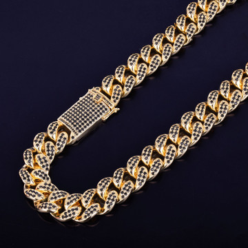 Mens 24k Gold 20mm Heavy Black Lab Diamond Miami Cuban Link Chain Necklace