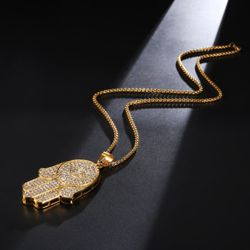 Hip Hop Iced Large 14k Gold Over Stainless Steel Hamsa Hand Pendant Chain Necklace