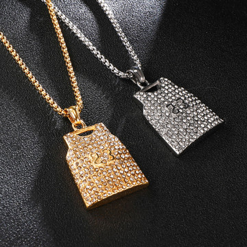 Number 23 14k Gold Over Stainless Steel Hip Hop Jersey Pendant